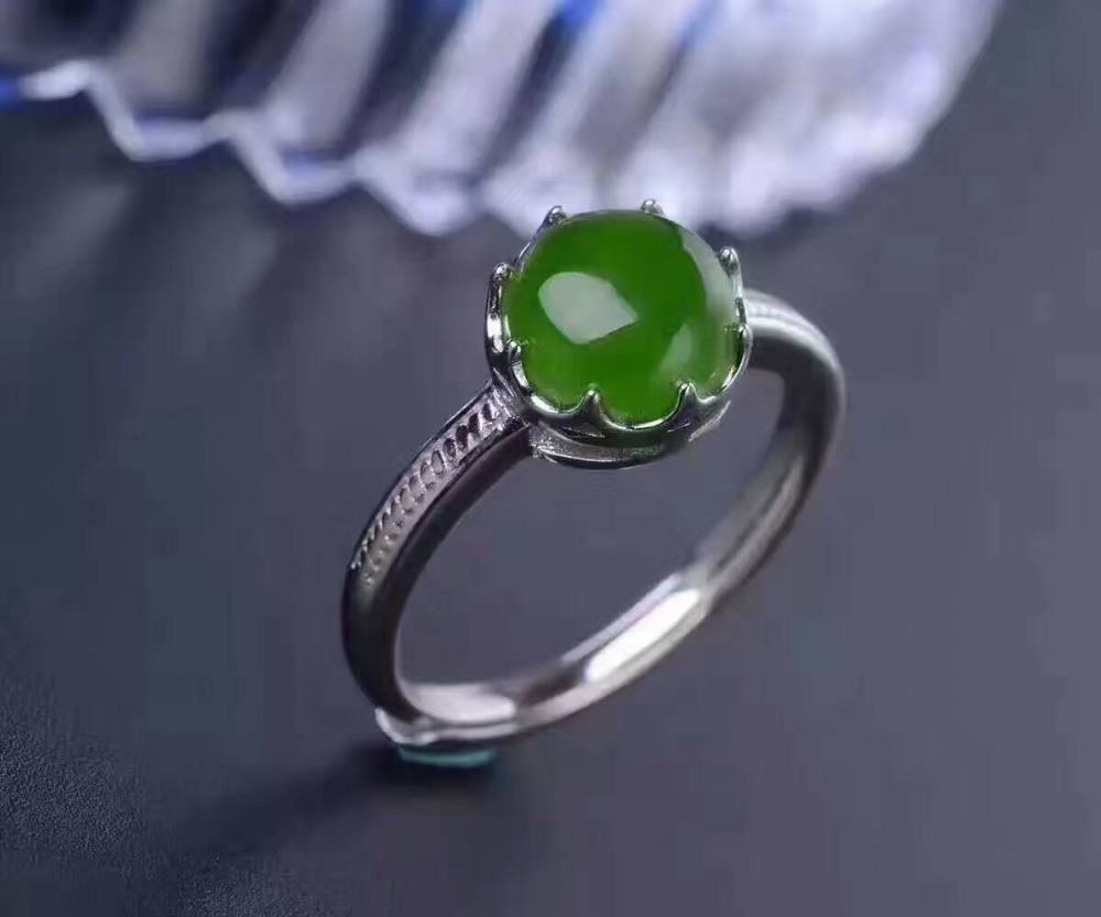 Natural green jasper gem Ring Natural red garnet Ring 925 sterling silver Stylish elegant Elegant simple round women Jewelry цена