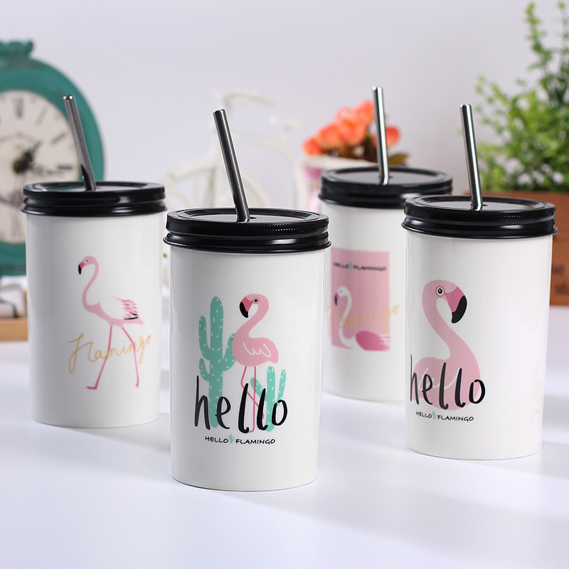 480ML beautiful Flamingo straw Ceramic mugs four design random big mug with straw for cold drink and Juice kids birthday gift