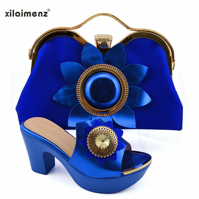 Green Color Hot Selling Italian Shoes And Bag Set  High Heels African Design Shoes With Matching Bag Slipper For Party