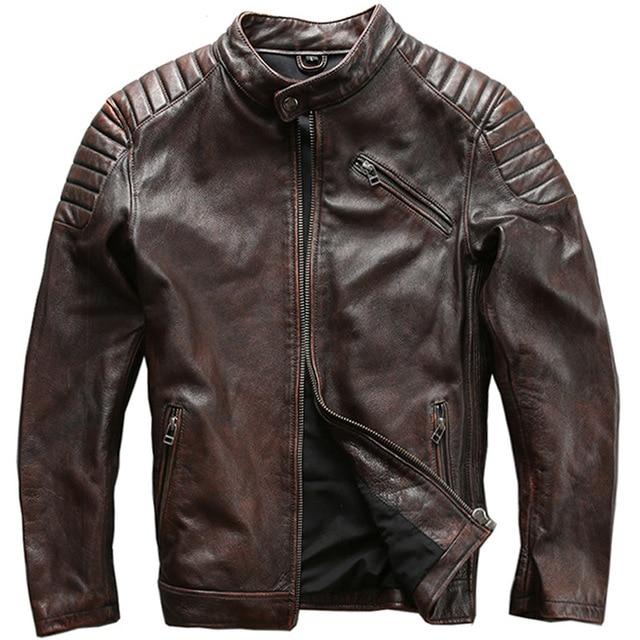 Mężczyźni w stylu Vintage skórzana kurtka mężczyźni skóry wołowej kurtki brązowy/czarny skóra cielęca silnika Biker płaszcz mężczyzna płaszcz skórzany Slim w Płaszcze ze sztucznej skóry od Odzież męska na  Grupa 1
