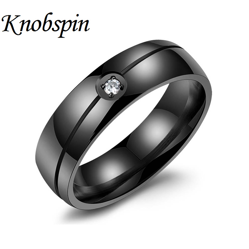 2017 Fashion Black Gold AAA CZ bague homme Wedding Rings Men Jewelry 316L Stainless Steel High quality bijoux best gift