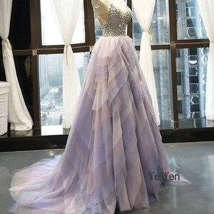 Image 3 - 2020 elegante vestido de noite feminino glitter gem deep v pilha dobre rendas sem mangas spagheti cinta formal festa vestidos de noite