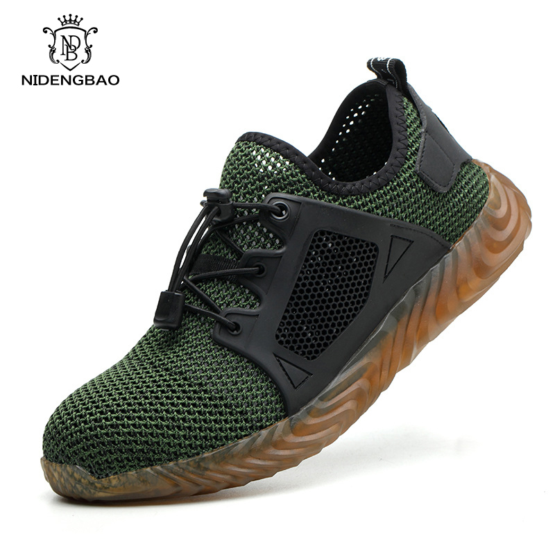 Breathable Safety Shoes Men Steel Toe Indestructible Work Sneakers Anti-smashing Lightweight Boots Big Size From 35 To 48