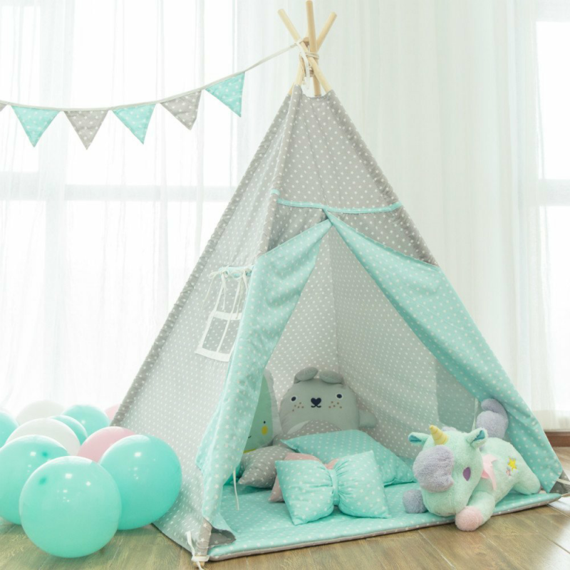 Four-Pole Grey Star Kids Tipi Tent With Mint Accents furla наручные часы