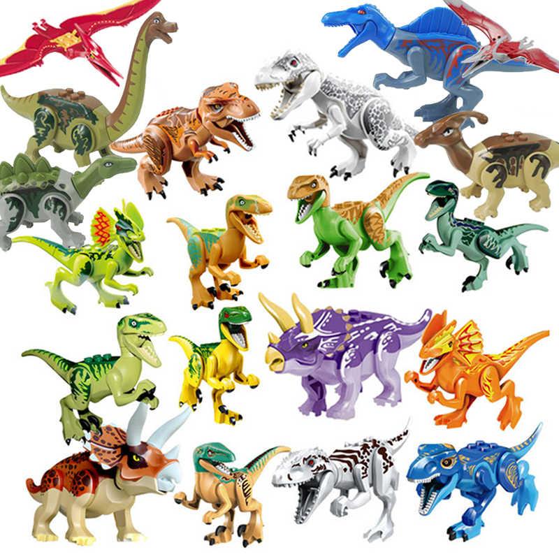 Mailackers Jurassic Dinosauro Figura Indoraptor Velociraptor Triceratop T-Rex Del Mondo Dino Set di Blocchi di Costruzione Per Bambini Giocattolo Kit di Bloccaggio