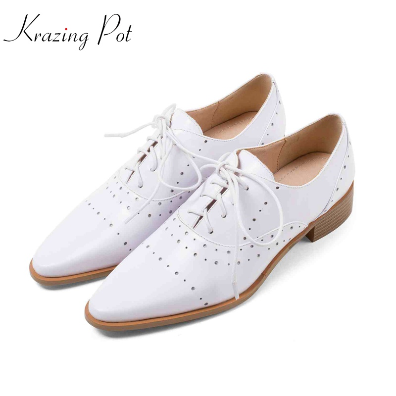 Krazing pot new cow leather med heels shallow pumps pointed toe simple style decorations superstar brand slip on women shoes L05 krazing pot 2018 cow leather simple design breathable high heels hollow women pumps round toe brown white color brand shoes l92
