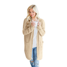 2019  chic style hot sale winter basic sweater women cardigans computer knitted casual pockets solid female cute
