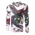 Hot!!! T-shirt dos homens de Manga Longa O Pescoço Dos Homens de Impressão Colorido Phoenix Camisa de T de Alta Qualidade Hip Hop Moda Top Tees