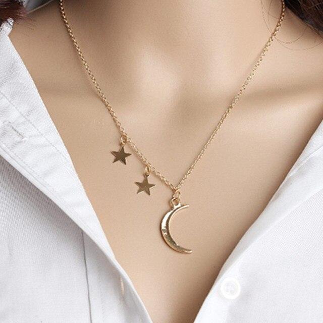 Gold Color Moon Star Sun Pendant Necklaces  1