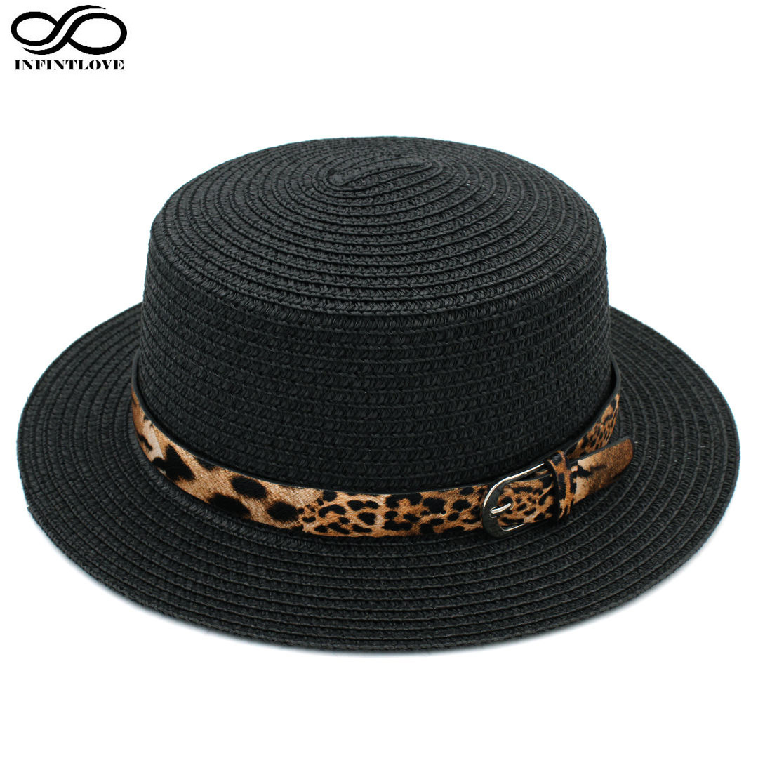 LUCKYLIANJI Women Boater Hat Straw Hat Summer Sunhat Flat Top <font><b>Caps</b></font> <font><b>Sexy</b></font> Leopard Leather Band (One Size:58cm) image