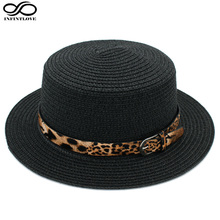 LUCKYLIANJI Women Boater Hat Straw Hat Summer Sunhat Flat Top Caps Sexy Leopard Leather Band (One Size:58cm)