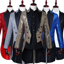 Купить с кэшбэком Male Sequins Tailcoat Suit Jackets Prom Formal Host stage performance Tuxedo full dress Magician show Teams Chorus show costumes
