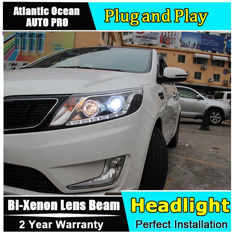 Автомобилей стайлинг для Киа Рио К2 фар светодиодные фары автомобиля глаза ангела Сид DRL HID комплект Би-ксенона низкого пучка объектива