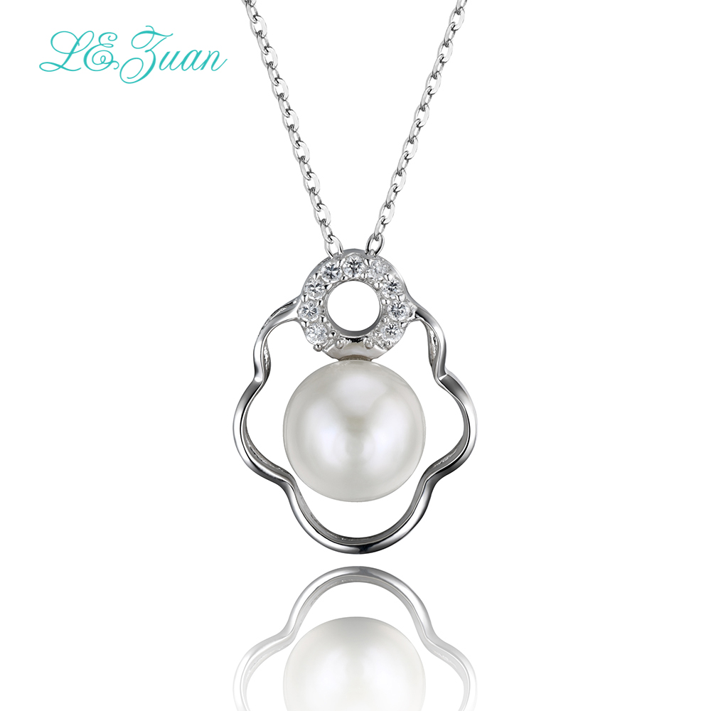 L&zuan Natural Freshwater Pearl Pendant Romantic Luxury Flower 925 Silver Pendant Necklace For Women Fine Jewelry