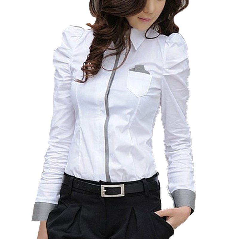 ZH Fashion Elegant Women Office Lady Formal Button Down Blusas Shirt Long Sleeve White Tops Blouse 2019