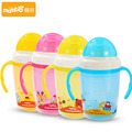 Quality 230ml children Removable Cartoon Cup Kids Learn Feeding Drinking Water Straw Handle Bottle Training Cup christmas gift