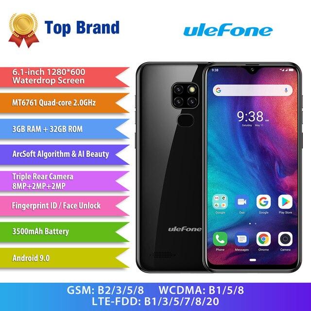 """Ulefone Nota 7P Del Telefono Mobile Android 9.0 Cellulare 6.1 """"MT6761VW Quad Core 3GB + 32GB Viso ID 3500mAh Smartphone 3 Posteriore Telecamere"""