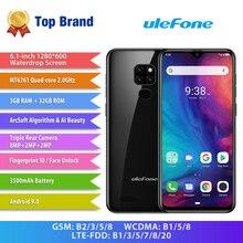 "Ulefone not 7P cep telefonu Android 9.0 cep telefonu 6.1 ""MT6761VW dört çekirdekli 3GB + 32GB yüz kimliği 3500mAh Smartphone 3 arka kameralar"