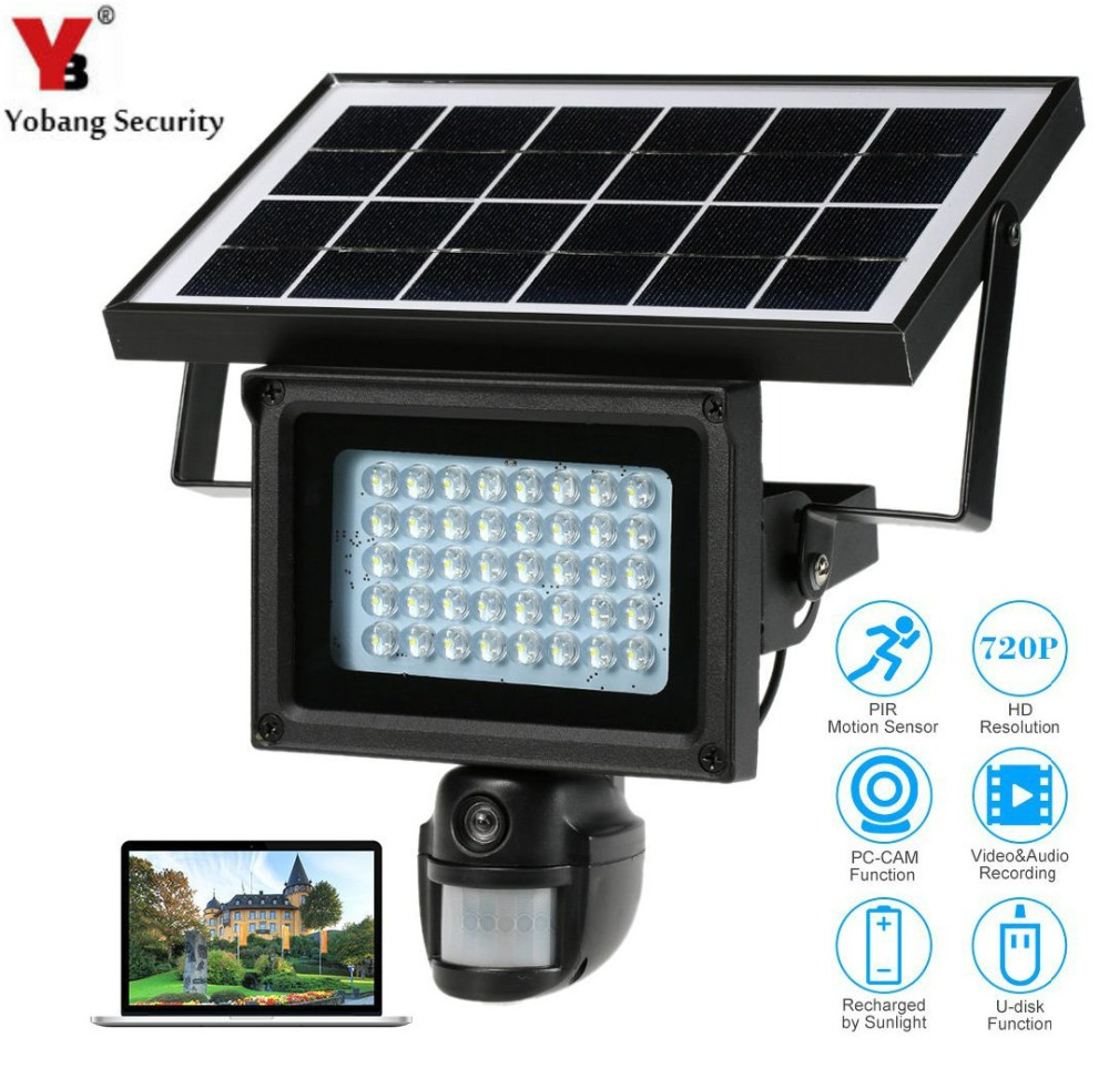 Yobang Security Solar Power Waterproof Outdoor Security Camera With Night Vision Surveillance Camera Video Recorder 32GB Card ...