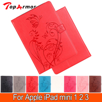 HOT Luxury Embossing Stand PU Leather Table PC Cases For Apple IPad Mini 1 2 3
