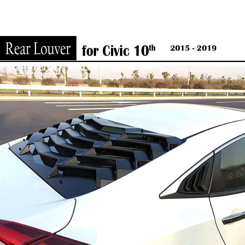 Garniture d'évent de persienne de becquet de fenêtre arrière pour Honda Civic 10th Gen 2015 2016 2017 2018 2019