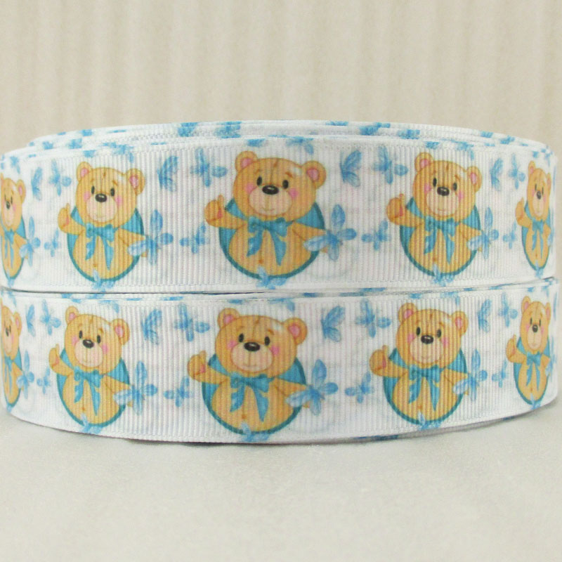 10Y14872 1(25mm) beauty bear high quality printed polyester ribbon 10 yards, DIY handmade materials, wedding gift wrap