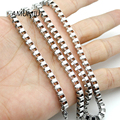 AMUMIU 40-70CM Men Chains Box Necklace 4mm Punk Stainless Steel Cool Metal Boy Man Jewelry 1pcs HZN004A