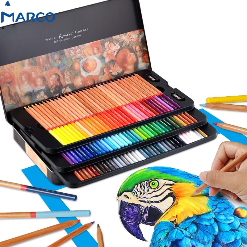 marco 100 color pencils professional oily lapis de cor profissional colored for drawing sketch