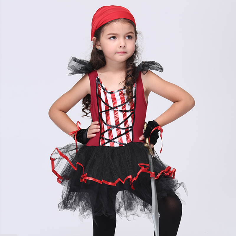 Children Kids Costume Halloween Carnival Clothing Baby Girls Pirate Cosplay Festival Clothes Childrens Party Dresses Gloves Set halloween skeleton style cosplay costume face mask gloves set black white