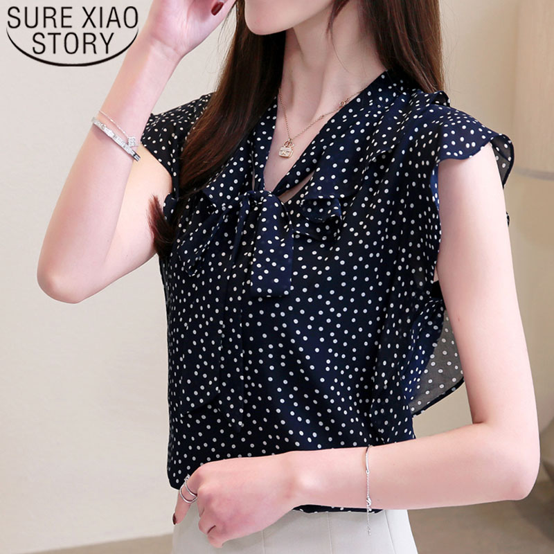 Fashion women tops and   blouses   2019 ladies tops harsjuku   shirt   chiffon   blouse     shirt   Sleeveless Bow Polka Dot V-Neck 4126 50