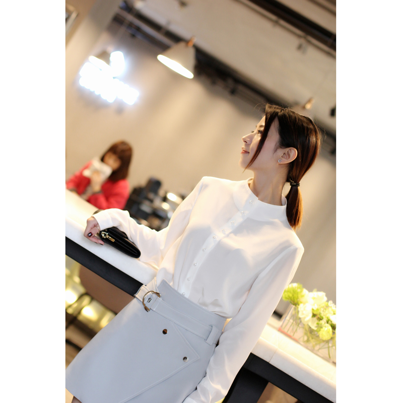 2018 Deva Fashion Ladies' 100% Silk Blouses Women's white Grace Pearl Button Stand Collar Ladies' Blouses