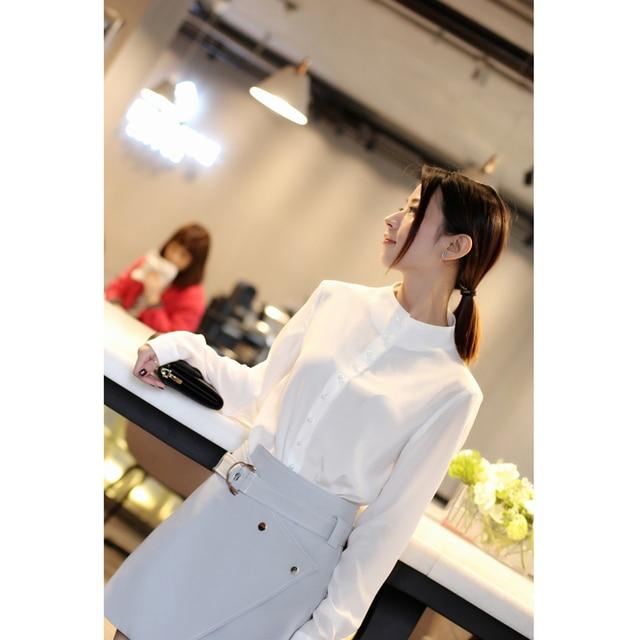 2018 Deva Fashion Ladies' 100% Silk Blouses Women's white Grace Pearl Button Stand Collar Ladies' Blouses