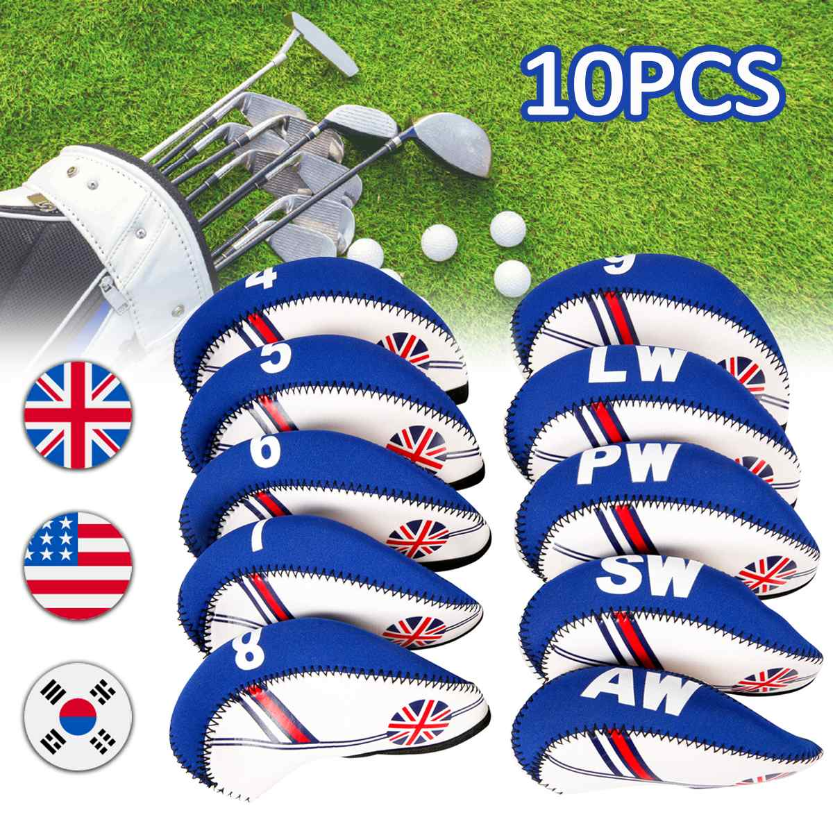 10Pcs/set Golf Club Iron Head Cover Neoprene National Flag Headcover Waterproof Golf Club Head