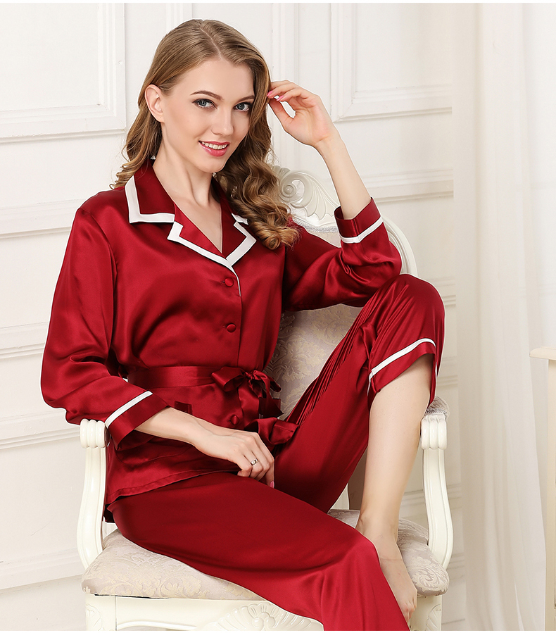 Шелковые пижамы для женщин 2018 женщина с длинным рукавом насыщенный красный синий 100% шелк атлас пижамные комплекты пижамы женские Lounge пижам