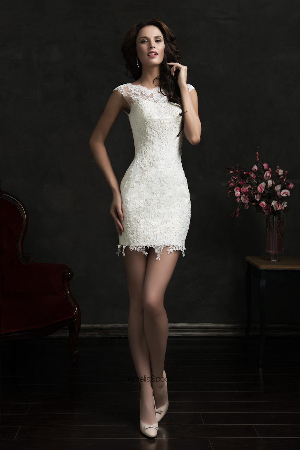 Fashion 2016 lace short wedding dress vintage vestido de for Lace sleeve backless wedding dress