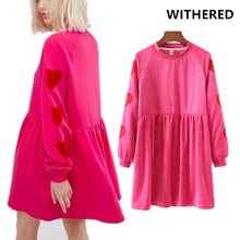 Withered BTS winter dress vestidos england style rose color embroidery of love heart loose velvet o-neck dress women plus size