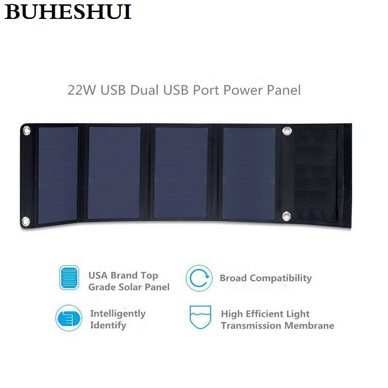 все цены на BUHESHUI 22W Portable Solar Charger For iPhone Sunpower Solar Panel Charger Foldable Universal Camping Outdoor Dual USB New онлайн