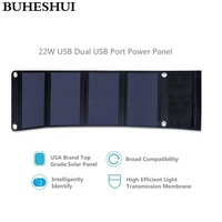 22W Portable Solar Charger For IPhone Sunpower Solar Panel Charger Foldable Universal Camping Outdoor Dual USB