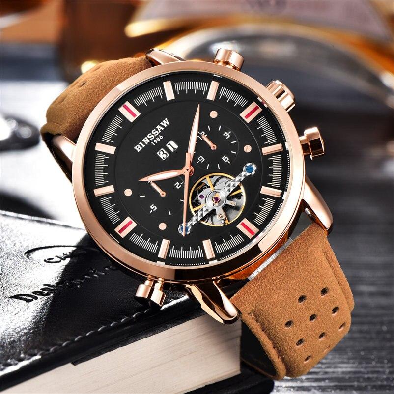BINSSAW Sport Herrenuhr Automatik Luxus Uhren Männer Tourbillon Mechanische Uhr Aushöhlen Leder Band Männlichen Uhr Neue Hodinky