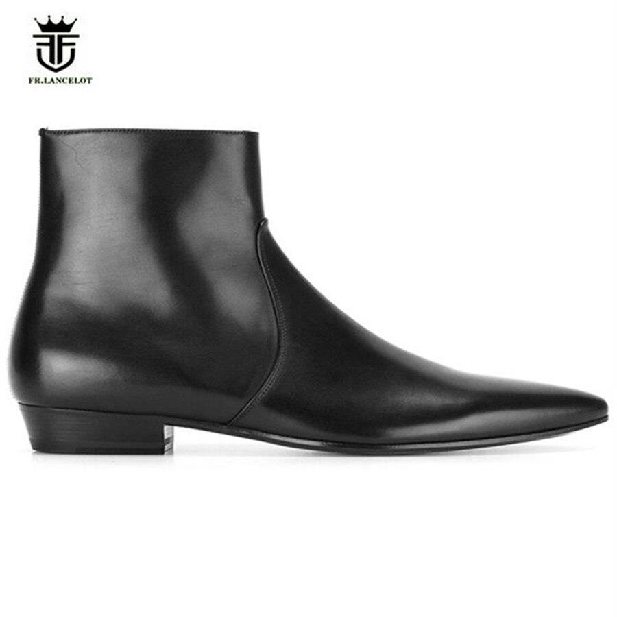 새로운 신사 스타일 럭셔리 지적 발가락 암소 가죽 지퍼 남자 발목 부츠 편안한 웨딩 드레스 슬림 수제 부츠-에서기본 부츠부터 신발 의  그룹 1