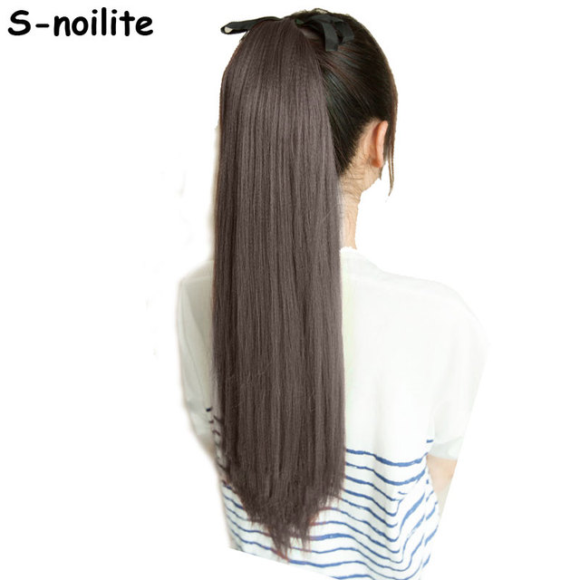 S-noilite Long Women Tie Up Ponytails Long Straight Hair Pieces Synthetic  Hair Wrap on 3df531c4ed6