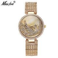 Miss Fox Phoenix Luxury Watch Women Rhinestone Waterproof Relojes Mujer 2017 Female Top Brand Sobretudo Feminino Golden Clock