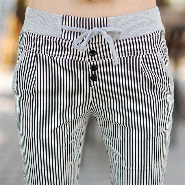 bd0fd4d42f8 Free Shipping Women Summer 100% Cotton Thin loose casual elastic waist  capris stripe plus size plaid pants Calf- Length Pants