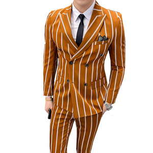Suit 2 piece set (coat + pants) British banquet boutique high-grade slim striped suit men's fashion double-breasted party suit