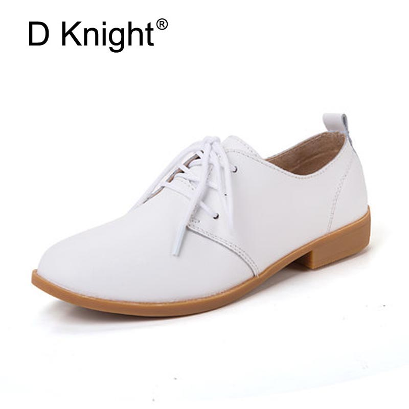 New Women Genuine Leather Oxford Shoes Fashion Round Toe Lace Up Women Flats Ladies Cow Leather Flat Nurse Driving Shoes Oxfords qmn women distressed brushed cow suede brogue shoes women round toe lace up oxfords shoes woman genuine leather flats