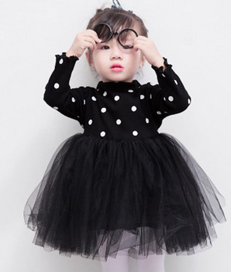 Newborn Kids Baby Girls Knitted Long Sleeve Dot Lace Tutu Dress Clothes Summer Casual Black Pink White Children Dresses