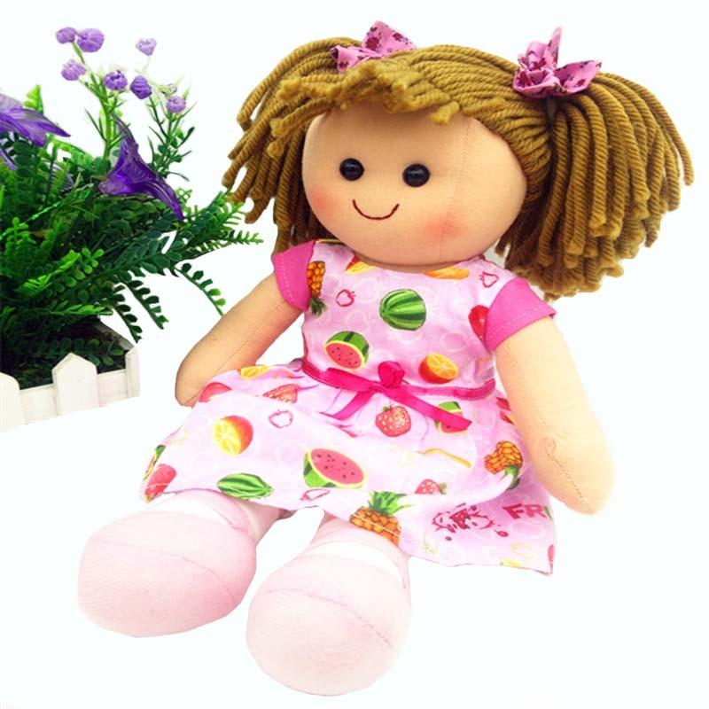 Promotion doux filles jouet poupée 15 pouces coton rose poupée pour bébés filles nés avec anniversaire en tissu cadeau de poupée enfants