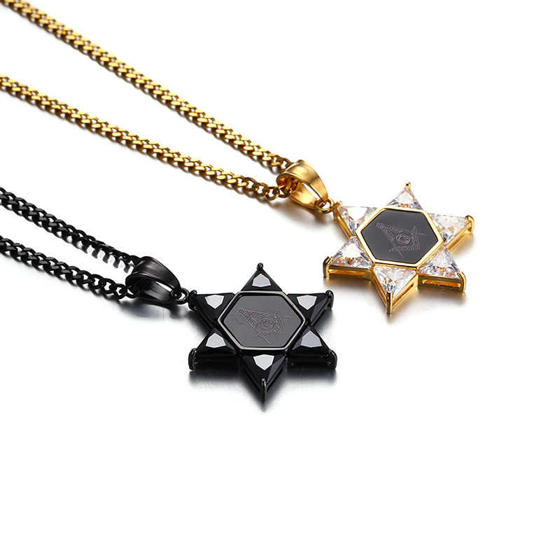 """Star of David with Masonic and Black CZ Stones Pendant Necklace for Men Stainless Steel Freemasonry Hip Hop Male Jewelry 24"""""""