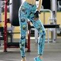 2016 Entrenamiento Deportivo Leggings Aptitud de Las Mujeres Leggings Otoño Azul Fitness Artículos Mujeres Leggings S-XL RS185