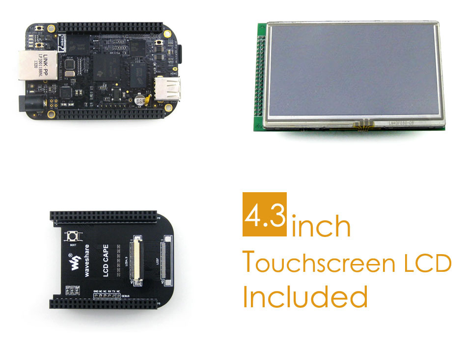 BB Black Package C With  BeagleBone Black Rev C 512MB 4GB 8bit ARM Cortex-A8, 4.3inch LCD Screen,include 8 Modules
